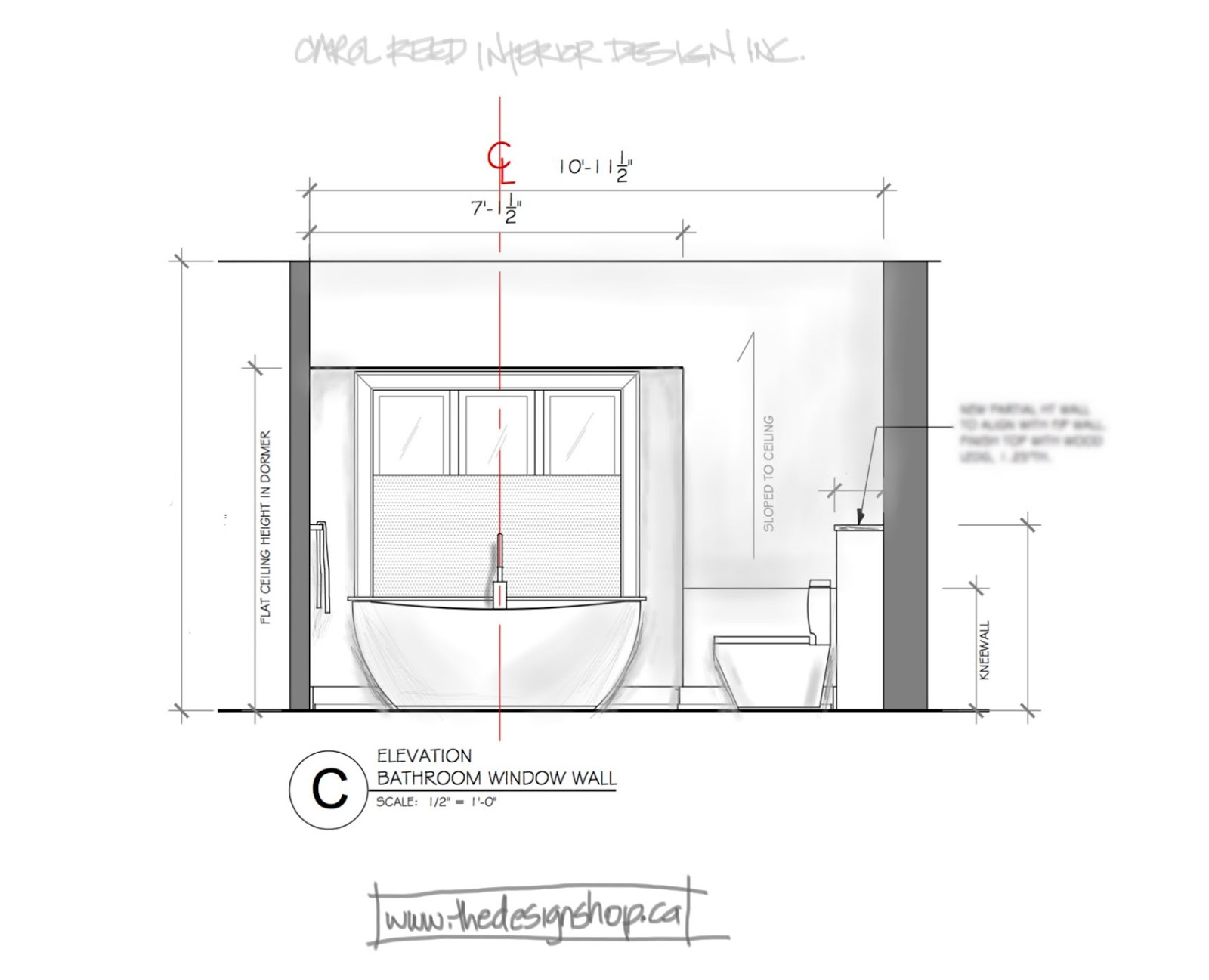 Urinal Front Elevation : Creed e design bathroom from concept to sneak peek
