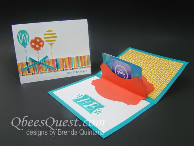 qbee's quest deco labels gift card holder tutorial, Birthday card
