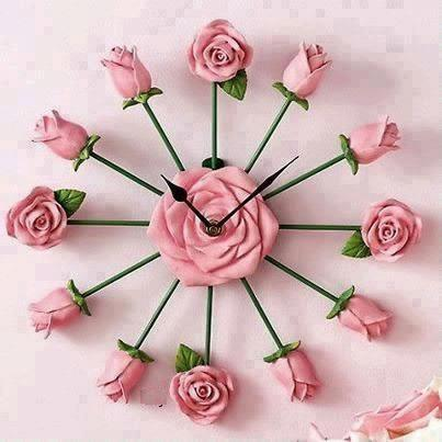 Rose Clock, Clock with Roses as Hours and a Big Rose inthe Middle