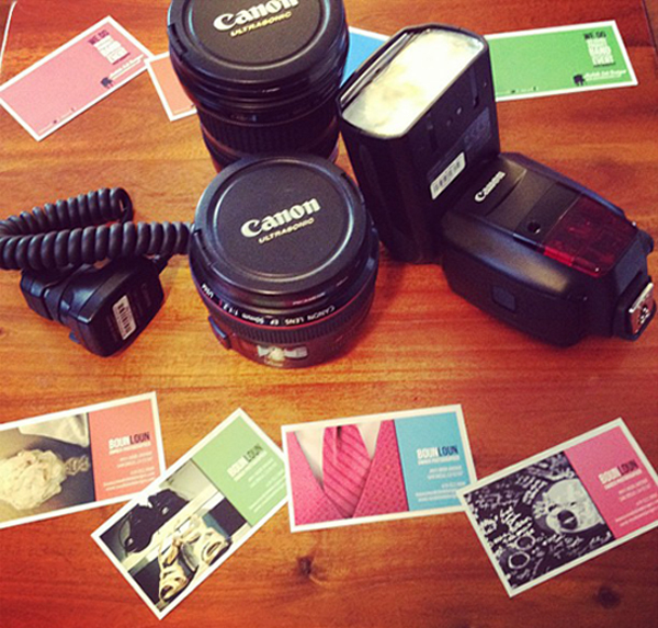 boun loun photographer business cards on table