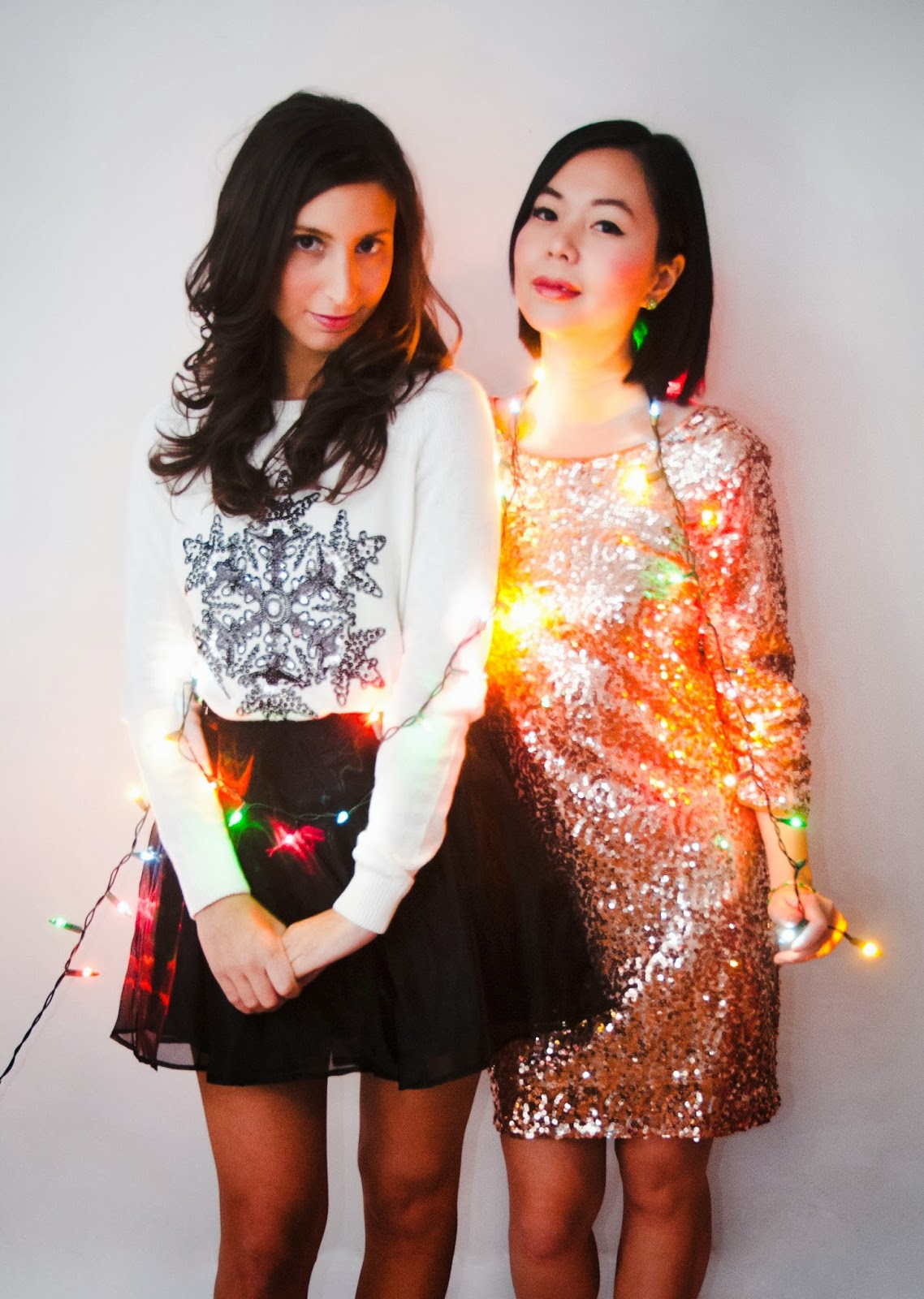 Christmas present gift sequins snowflake sweater holiday cocktail dress black skirt red mary jane nude pump holiday light