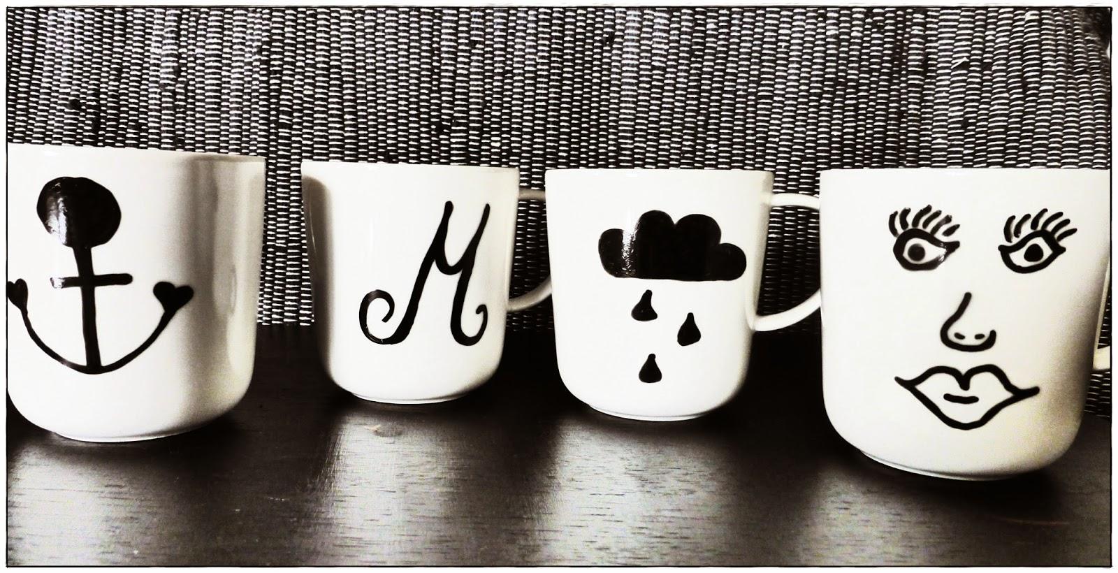 DIY Tassen selbst bemalen schwarz weiß
