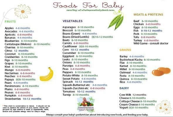 Baby food chart