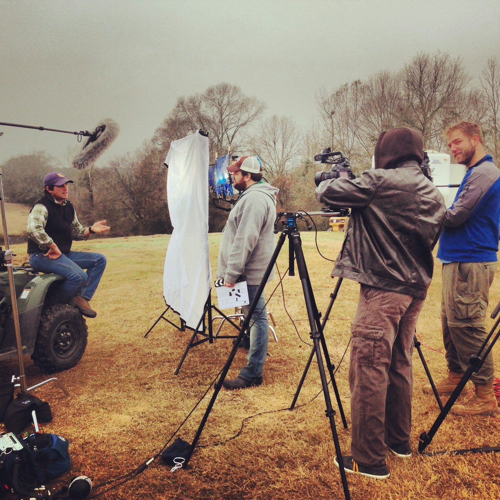 Rolling cameras on Iverstine Family Farms with Galen Iverstine,  Jay Ducote, Fred Mince, and Dan Jones