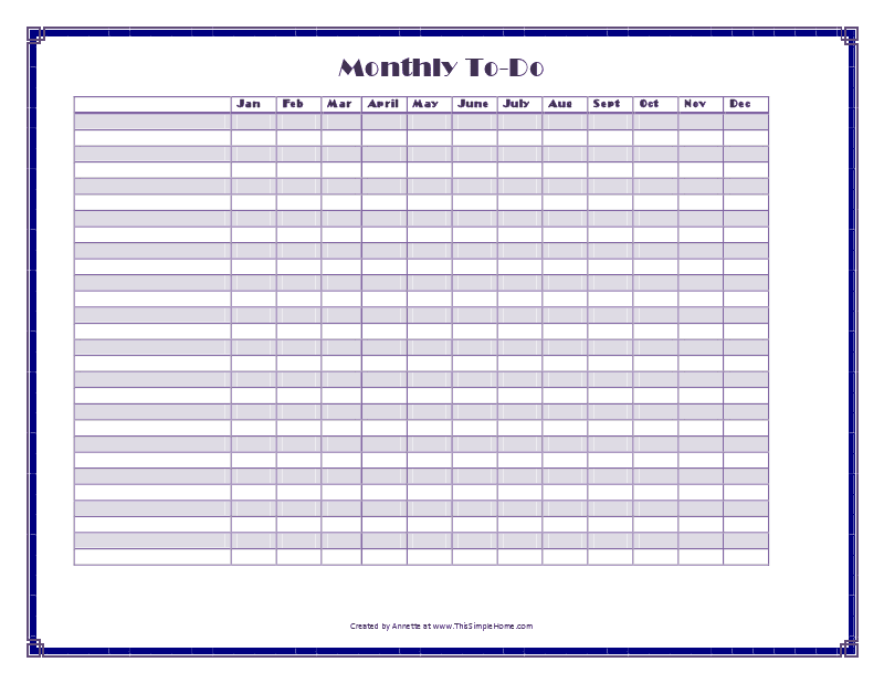 Monthly To-Do (blank)