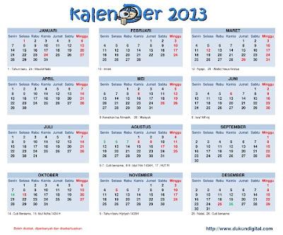 Lengkap Kalender Indonesia Tahun 2013 beserta hari libur nasional