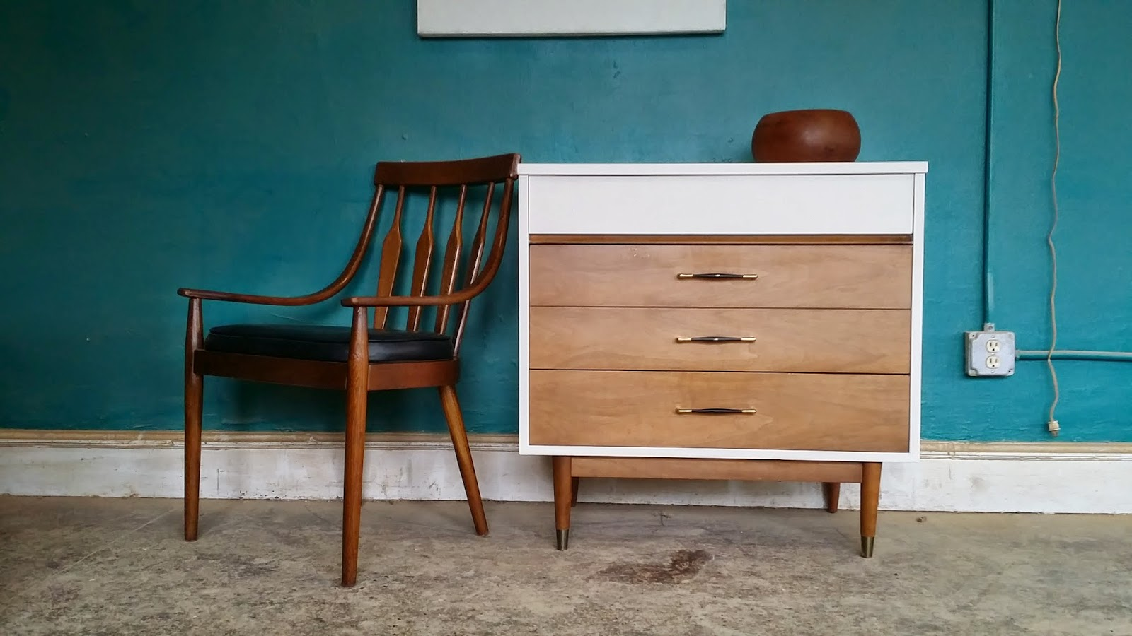 mid century white wood entry table changing table dresser