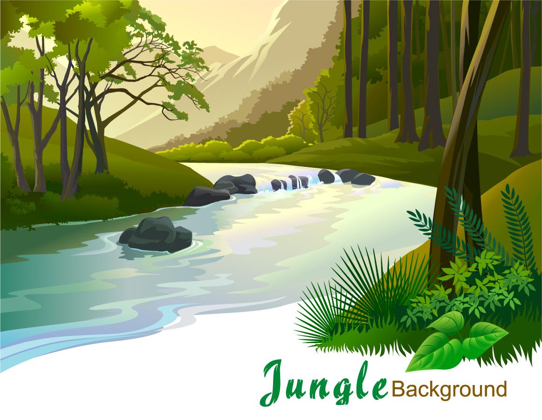 川の流れる森林の風景 Green Landscape Trees Vector Background イラスト素材