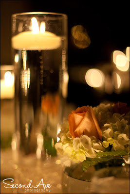 photoblog, project 52, reflection, flowers, candle, Virginia photographer, wedding, still life photography, still life photographer, centerpieces