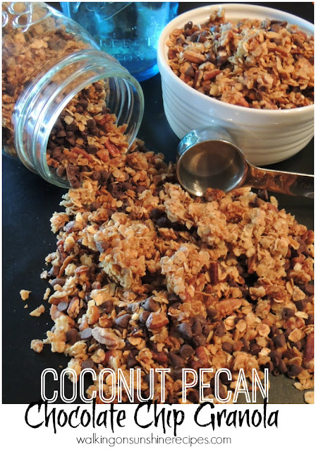 Coconut Pecan Chocolate Chip Granola from Walking on Sunshine Recipes.  Perfect over yogurt or on top of a peanut butter!  Your family will love this granola.