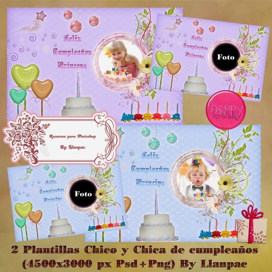 Recursos Photoshop Llanpac: 2 Plantillas para cumpleaños de niñas y ...
