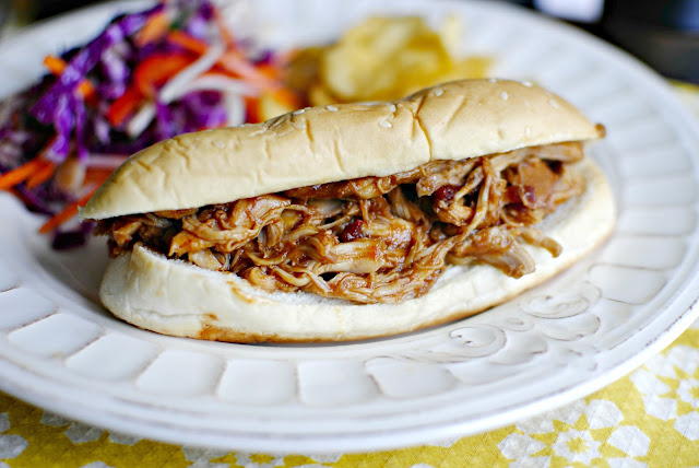 Slow Cooker Barbecue Pulled Chicken Sandwiches l SimplyScratch.com