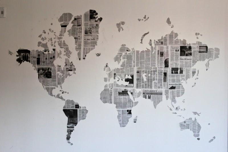 Wall Newspaper Design : Diy newspaper map wall art ms taylor elyse