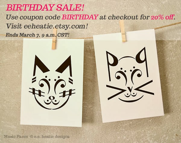 Birthday sale at my Etsy shop, eeheatie.etsy.com