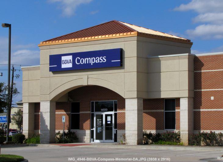 bbva compass bank building with signage bbva compass bank on corner of ...