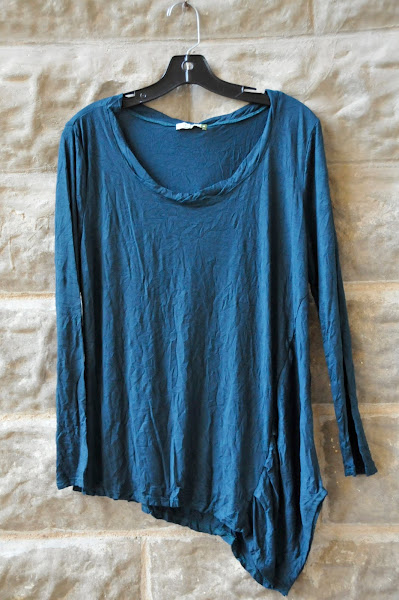 Teal offset top $72