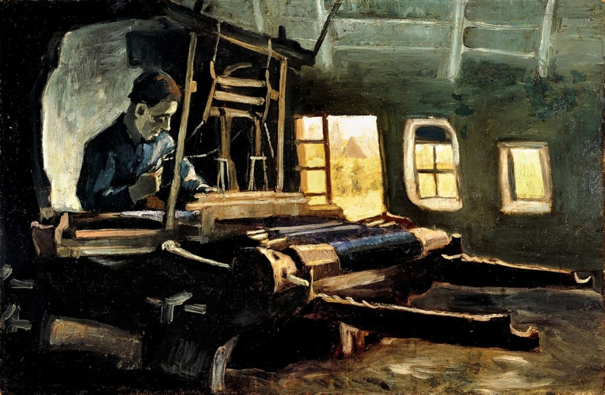 Weaver, Interior with Three Small Windows by Vincent van Gogh