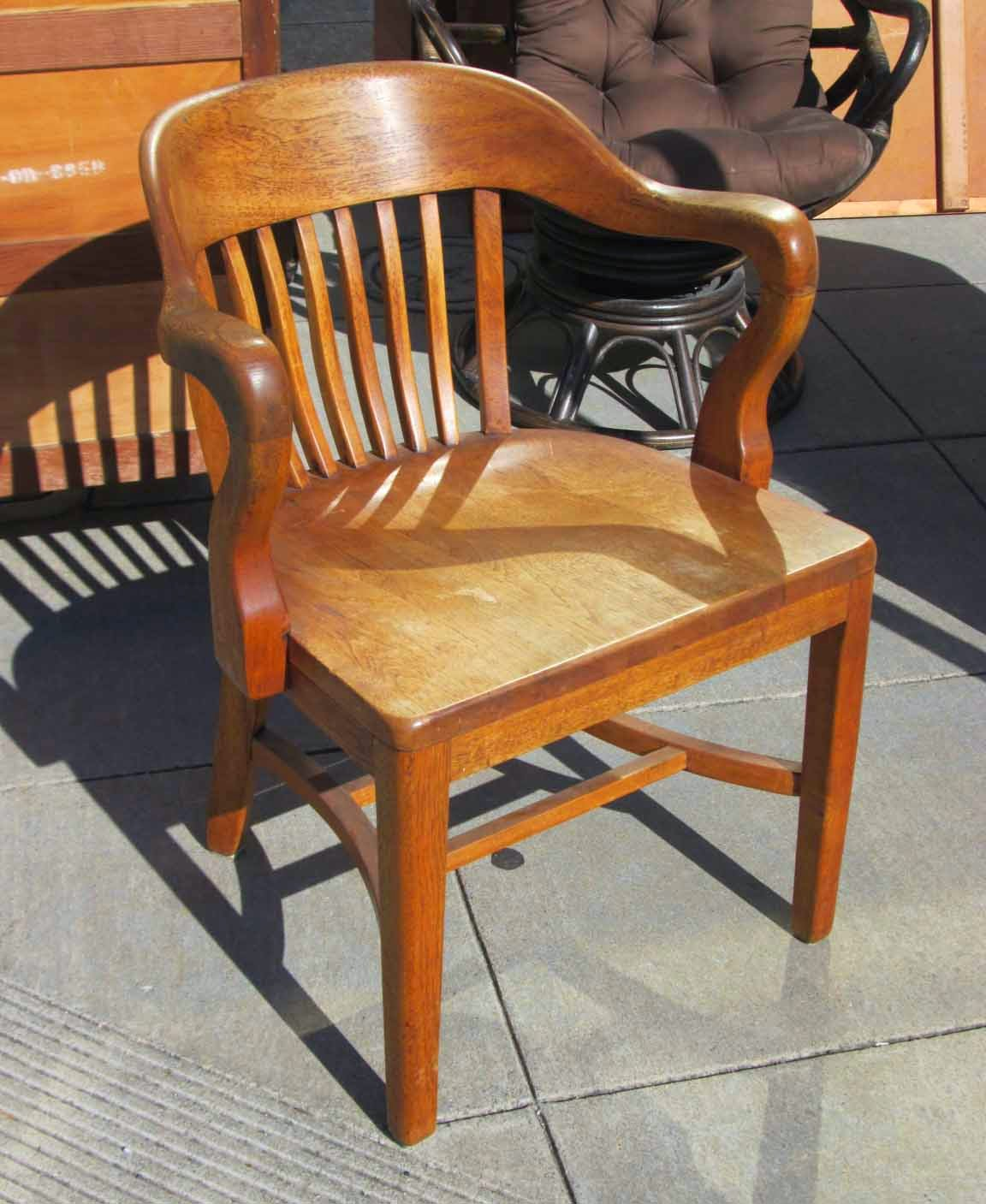 SOLD Antique Oak Bankeru0027s Chair   $60