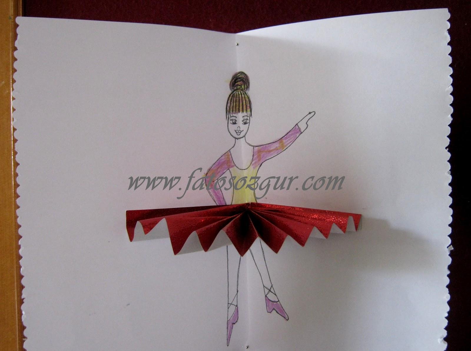 Renkli El İşi Kağıdından Balerin Yapımı