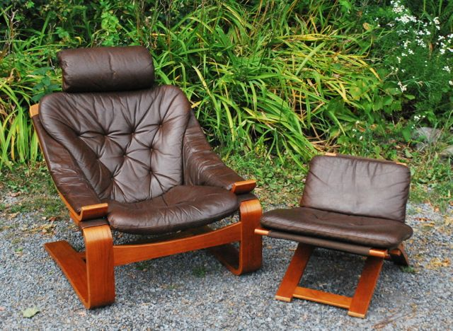 Vintage Leather Sling Lounge Chair U0026 Ottoman