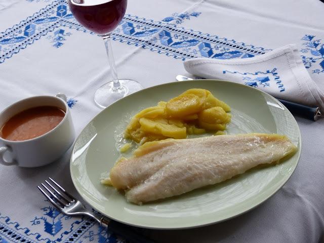 Filete de pescado con patatas (al microondas)
