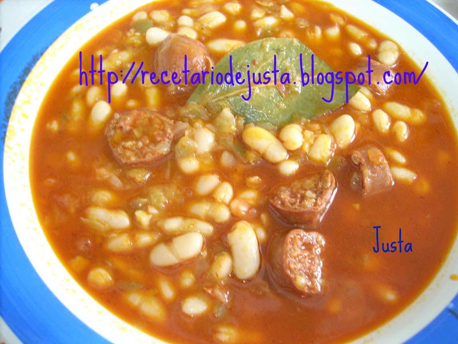 Recetario de justa jud as blancas con chorizo - Judias con chorizo y patatas ...