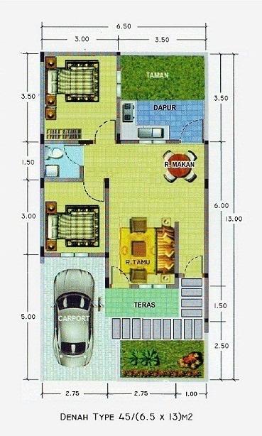 Denah Rumah Minimalis Type 45/84