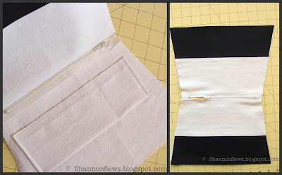 Sew lined zipper pouch together by sandwiching centered zipper to all pieces