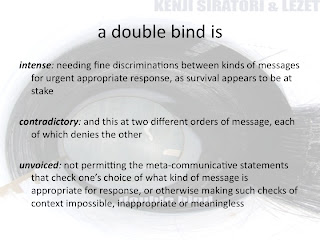 """double bind communication with conflicting messages The double bind is defined as """"a psychological predicament in which a person receives from a single source conflicting messages that allow no appropriate response to be made"""" (merriam-webstercom)."""