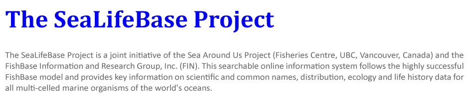 The SeaLifeBase Project