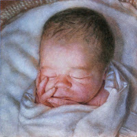 Figurative painting of newborn baby boy swaddled in blanket.