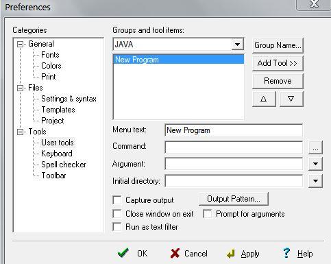 add javac in editplus