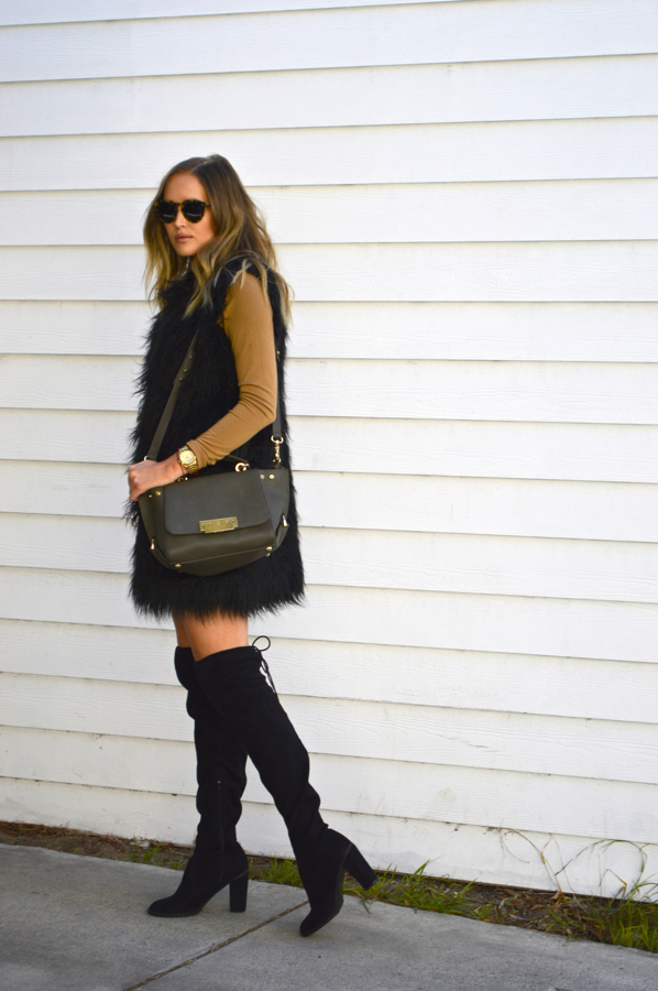 Golden Divine Blog- Ashley Murphy- LA Fashion Blogger- French Connection Fur Vest- Over The Knee Boots- Illesteva Sunglasses