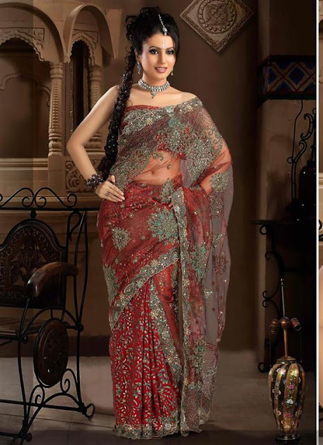 Embroidered Indian Wedding Saree