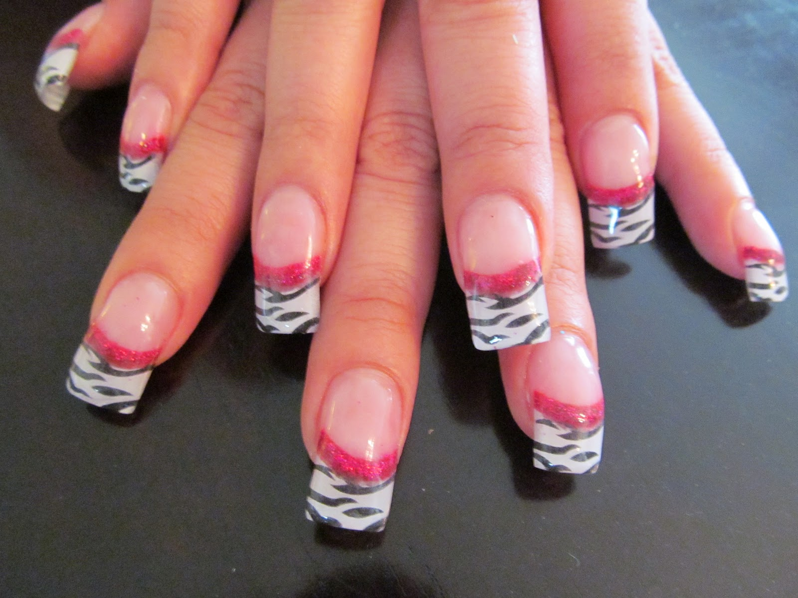 Pink Zebra Acrylic Nails