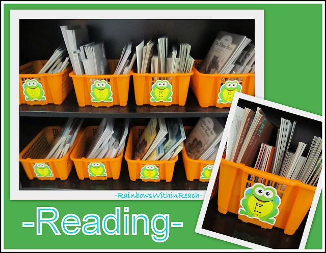 photo of: Classroom Organization of Reading Materials in Buckets