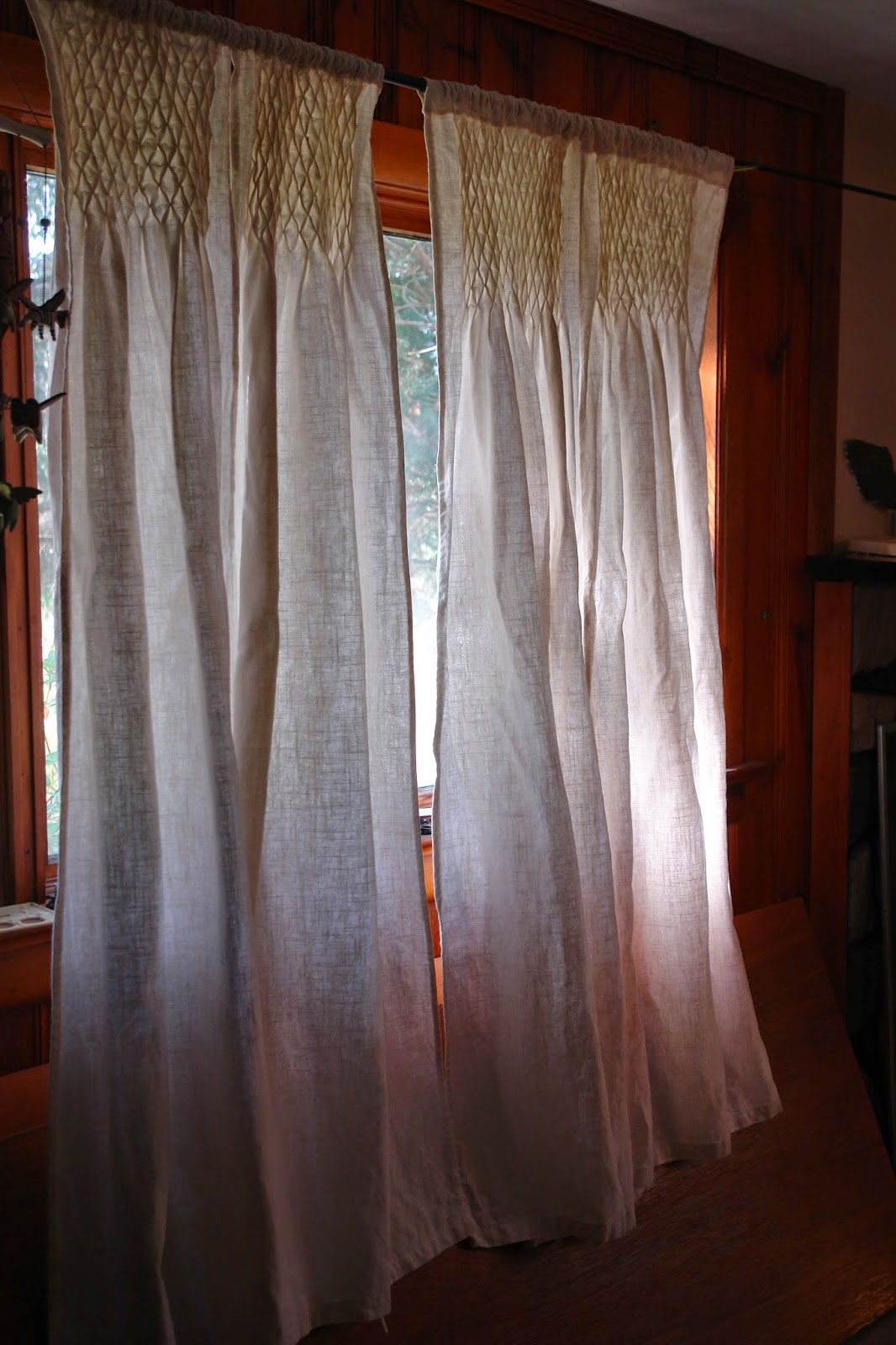 First attempt at curtain smocking. This is an upside down view of the ...