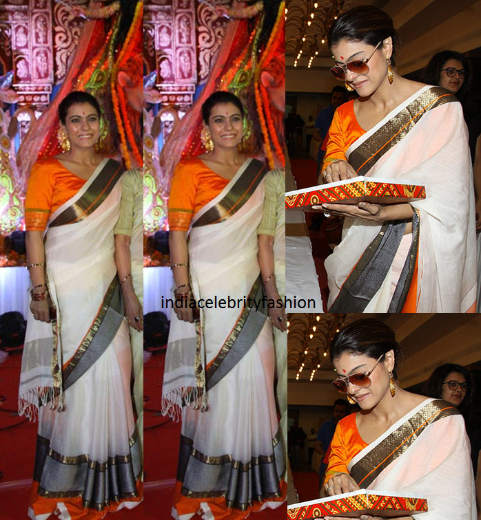 Kajol in White Silk sari at Durga Puja