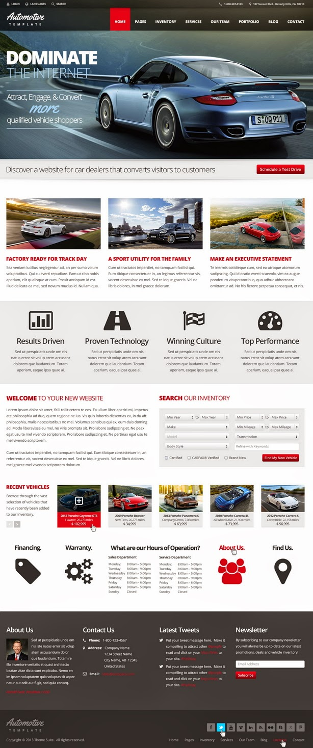 free automotive website theme