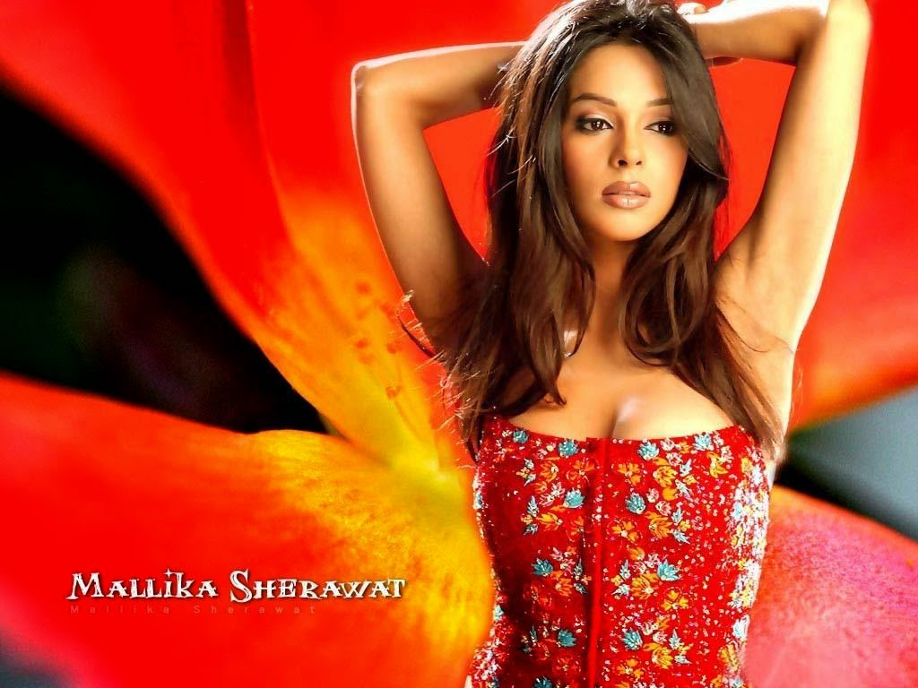 Hot mallika sherawat in red dress wallpaper