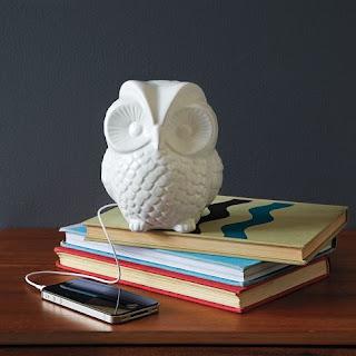 West Elm ceramic owl speaker