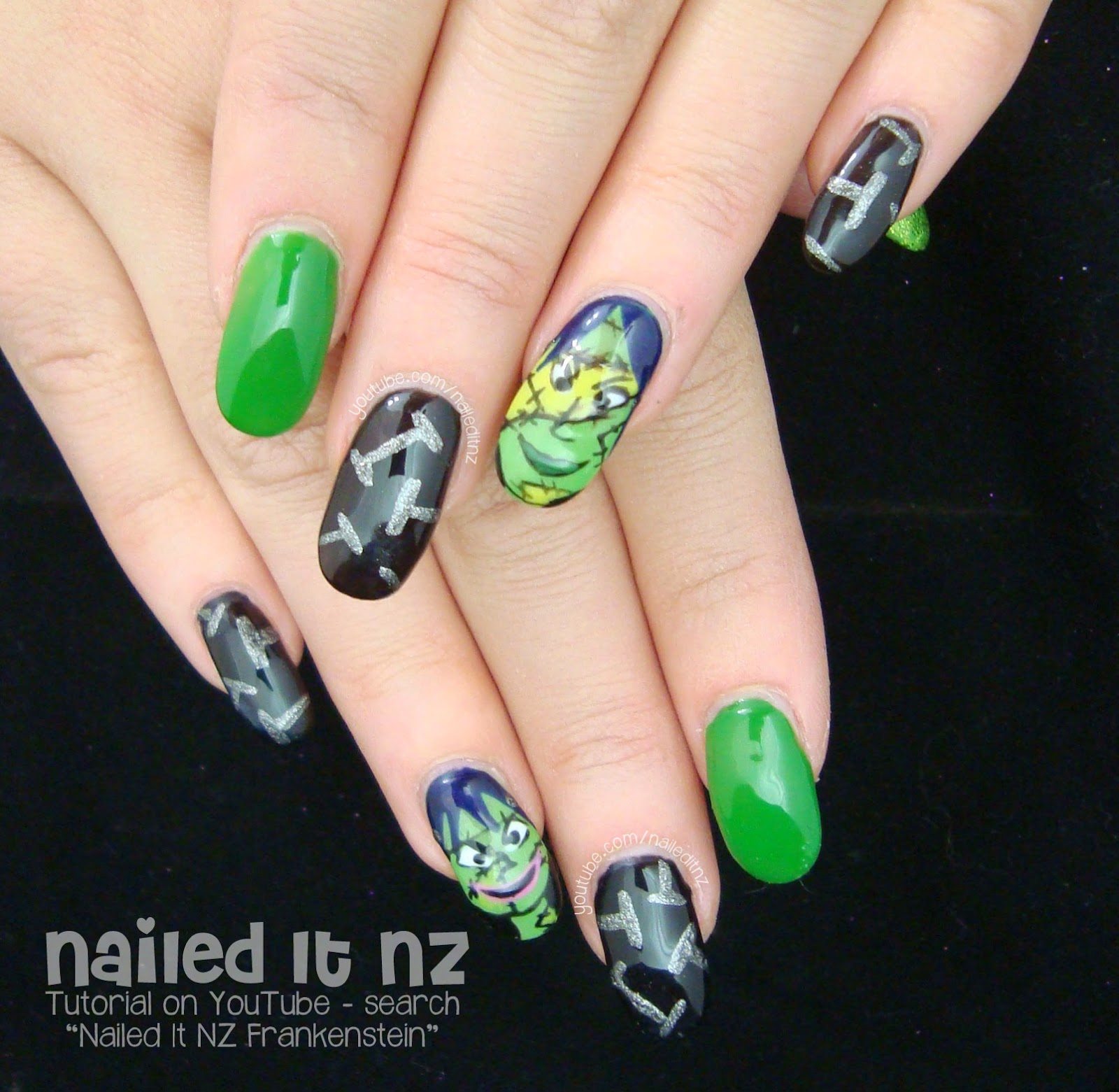 Female Frankenstein Nails | Collaboration With Eyedolize Makeup