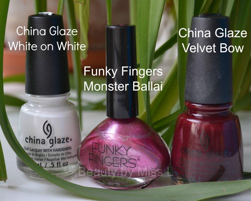 China Glaze White on White, Funky Fingers Monster Ballai, China Glaze Velvet Bow,