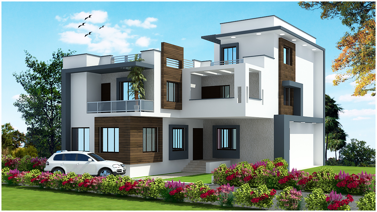 Front Elevation Of Beautiful Building : Ghar planner leading house plan and design