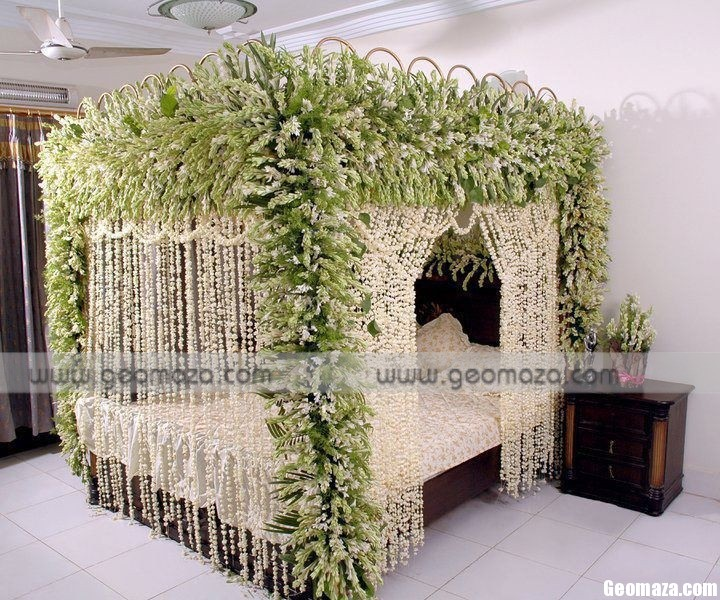 Bedroom decoration for wedding night home design elements for Asian wedding bed decoration ideas