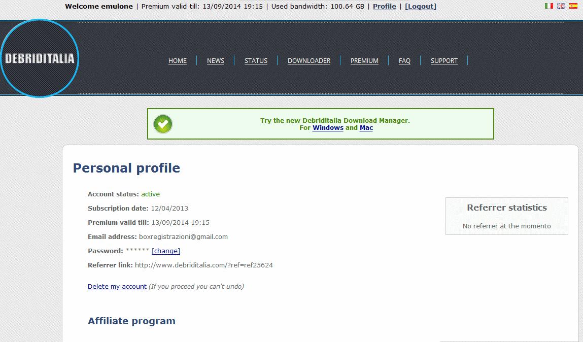 free debriditalia premium account