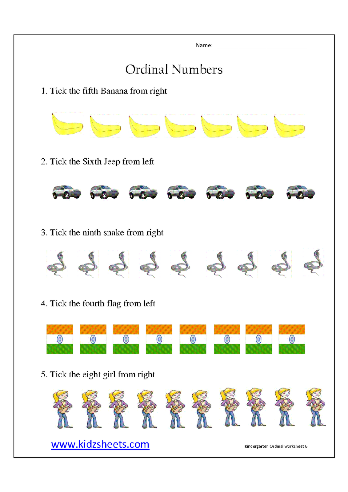 Kidz Worksheets: Kindergarten Ordinal Numbers Worksheet6