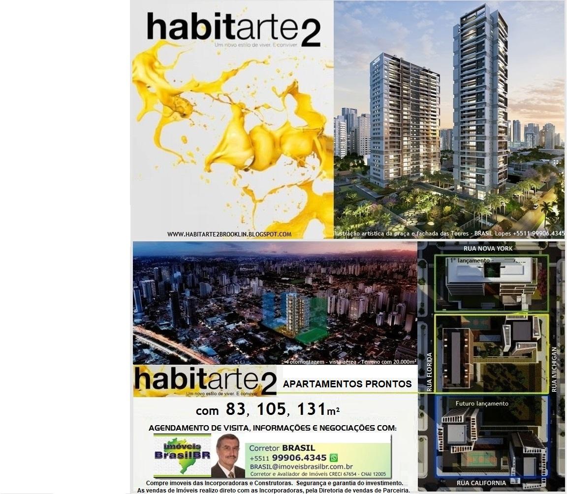 HABITARTE 2 Aptos de 83a128m², 2a4 vagas, prontos no Brooklin, R.NY x Michigan em S.Paulo-SP-Brasil