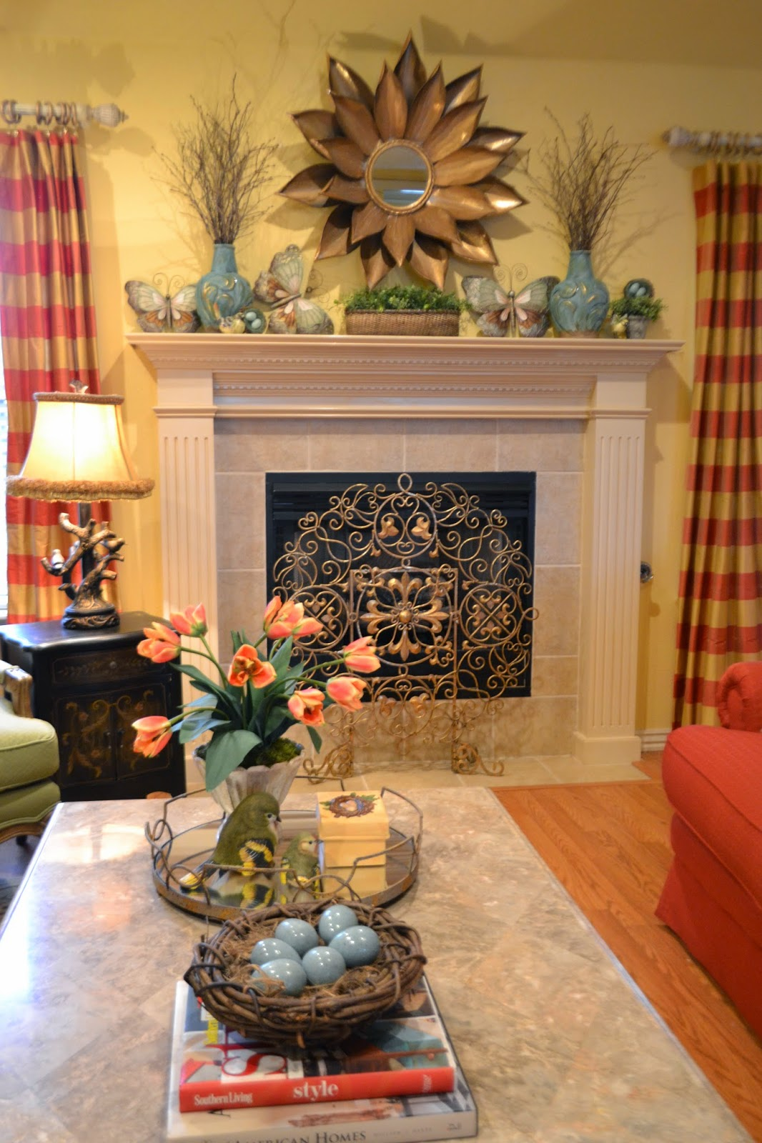 Kristen 39 s creations spring mantel 2014 - How to decorate with spring flowers ...