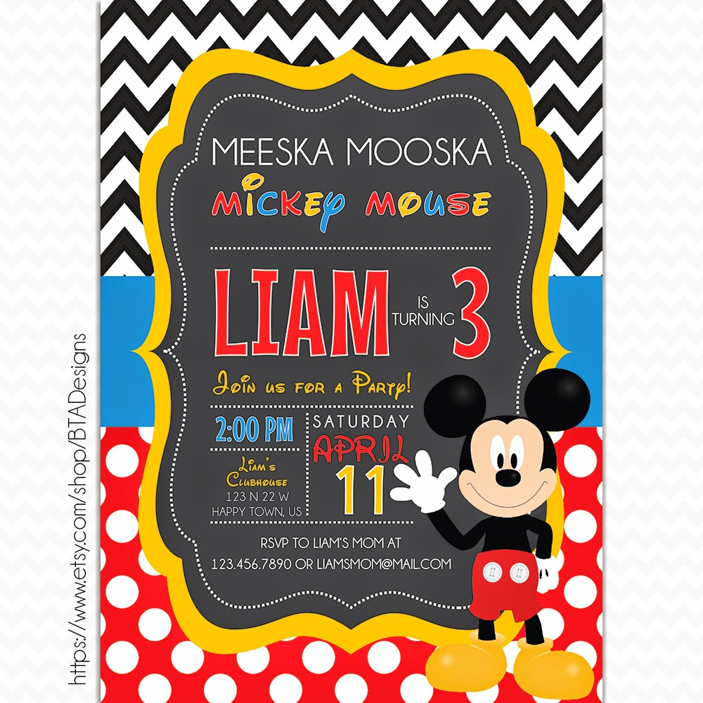 BTA Designs: Mickey Mouse Inspired Birthday Invitations + Free ...